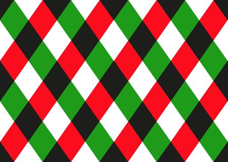 Green Red Black Diamond Chessboard Background. Christmas Seamless Pattern. Vector Illustration.