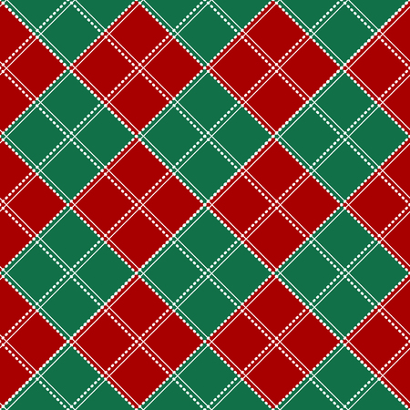 chequer: Red Green White Chess Board Christmas Background. Vector Illustration. Illustration