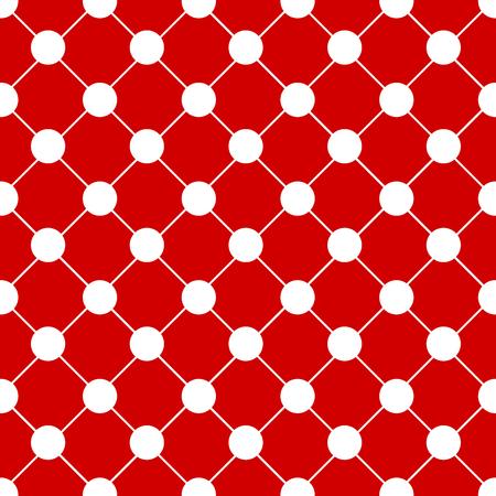 White Polka dot Chess Board Red Christmas Background. Vector Illustration