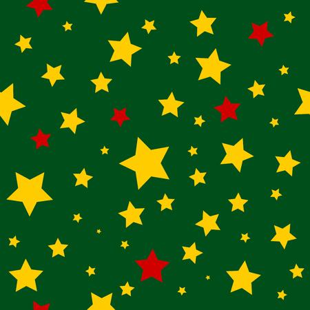 dark olive: Yellow Red Stars Green Christmas Background. Vector Illustration.