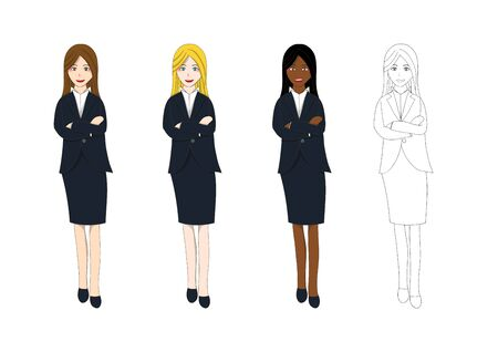 arms folded: Set Cute Business Woman Arm Folded with Confident. Full Body Vector Illustration. isolated on White Background