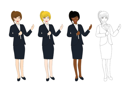 moderator: Set Cute Business Woman Presentation with Hand Pointing. Full Body Vector Illustration isolated on White Background