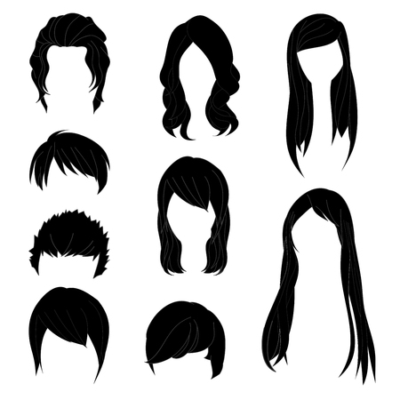 black wigs: Collection Hairstyle for Man and Woman Black Hair Color Set 1. Vector illustration isolated on White Background