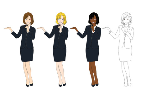 Set Cute Business Woman Presentation Holding Microphone. Full Body Vector Illustration isolated on White Background Illustration