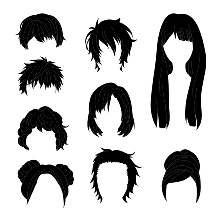 set of men hair styling: Collection Hairstyle for Man and Woman Black Hair Drawing Set 2. Vector illustration isolated on White Background