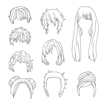 El Peinado Del Cabello Para La Mujer Dibujo Grupo 2 Ilustracion