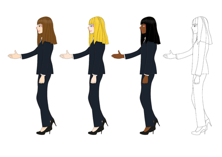 asian business meeting: Set Cute Business Woman Giving Hand for Handshake. Full Body Vector Illustration isolated on White Background Illustration