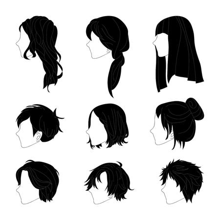 男性と女性の髪の図面のコレクション髪型サイド ビューを設定します。白い背景で隔離のベクトル図  イラスト・ベクター素材