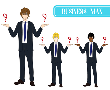 making face: Set Handsome Business Man Making Selection with Happy Face. Full Body Vector Illustration. isolated on White Background