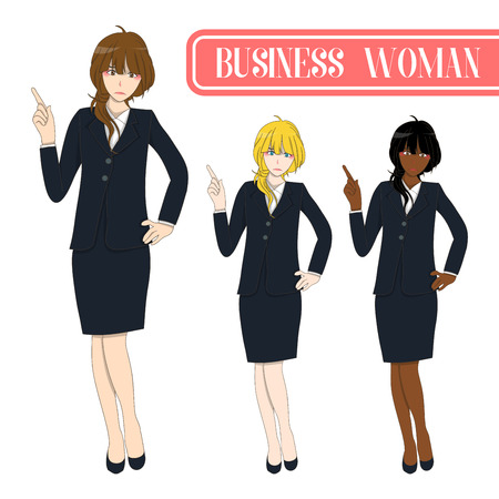 briefing: Set Cute Business Woman Pointing Up with Serious Face. Full Body Vector Illustration. isolated on White Background Illustration