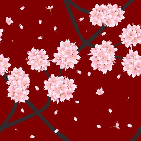 winter cherry: Sakura Cherry Blossom Flower on Red Background. Vector Illustration