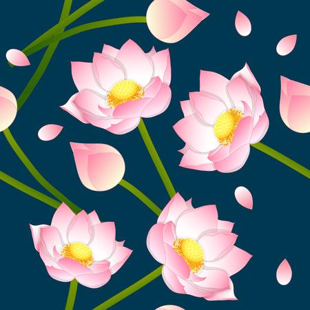 Pink Indian lotus on Indigo Blue Background. Vector Illustration. Illustration