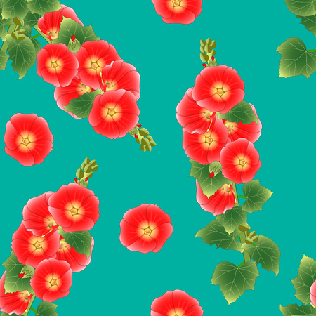 hollyhocks: Orange Red Alcea Rosea - hollyhocks, Aoi on Green Teal Background. Vector Illustration.