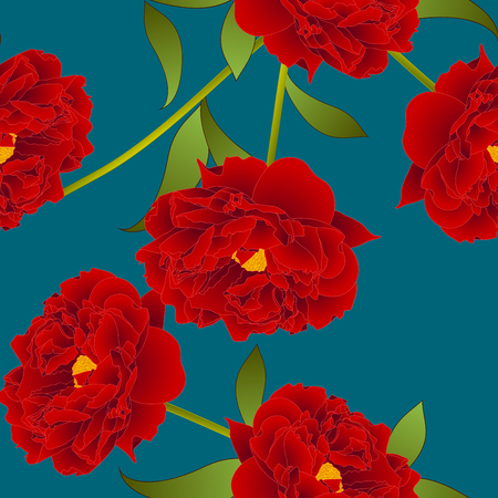 Red Peony Flower on Teal Indigo Background. Vector Illustration.