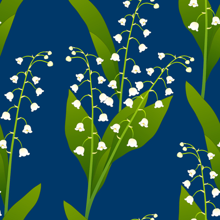 White Lily of the Valley on Indigo Blue Background. Vector Illustration.