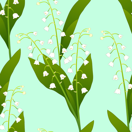 White Lily of the Valley on Green Mint Background. Vector Illustration. Illustration