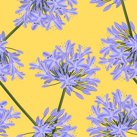 黄色の背景に青い紫のアガパンサス。ベクトルの図。