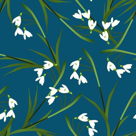 White Snowdrop Flower on Indigo Blue Background. Vector Illustration.