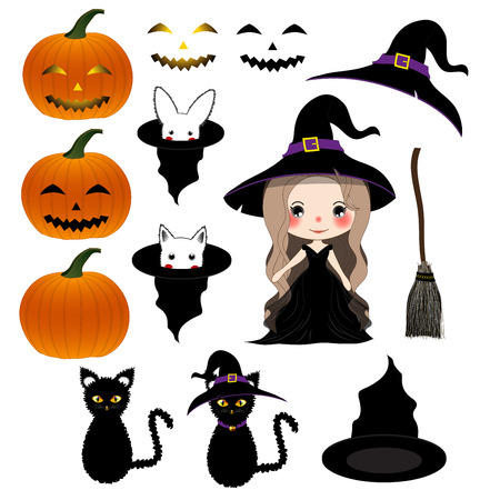 Halloween Day - Decoration Set. Vector Illustration.