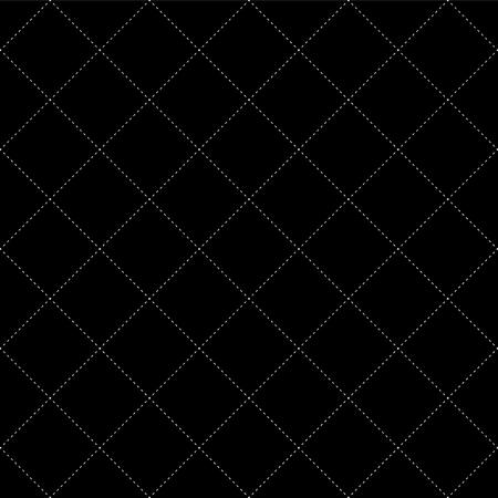 White Dash Square Diamond Seamless on Black Background. Vector Illustration.