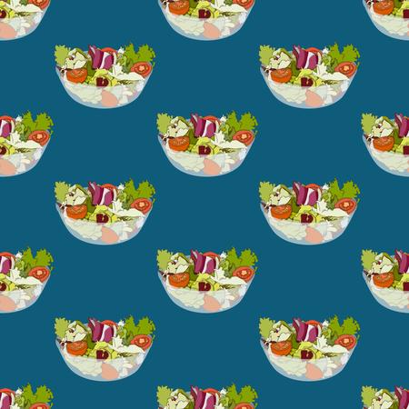 Salatschüssel-gesundes Lebensmittel nahtlos auf Indigoblau-Hintergrund. Vektor-Illustration. Standard-Bild - 86491887