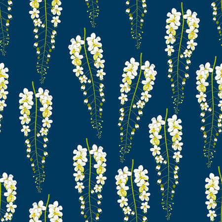 Cassia Fistula - Golden Shower Flower on Indigo Blue Background. Illustration.