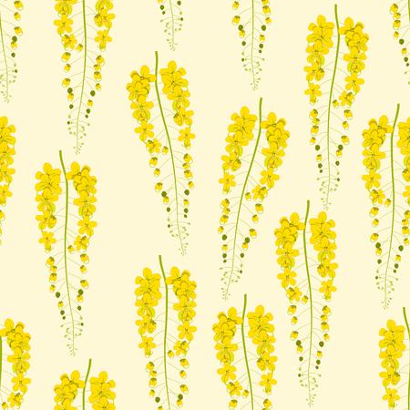 Cassia Fistula - Golden Shower Flower on Beige Ivory Background.  Illustration. Stock Photo