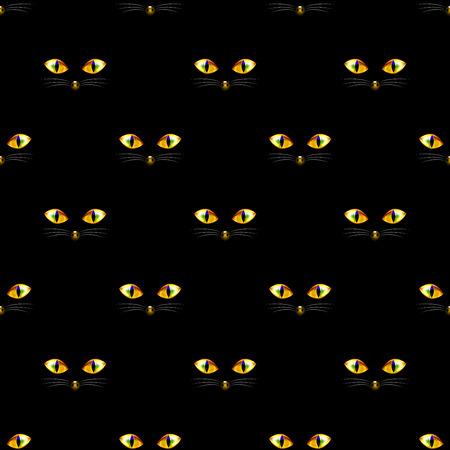 Cat Golden Eye Seamless on Black Background. Vector Illustration. Vettoriali