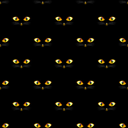 Cat Golden Eye Seamless on Black Background. Vector Illustration. Illustration
