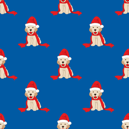 Labrador Retriever with Santa Hat Seamless on Blue Background. Vector Illustration.
