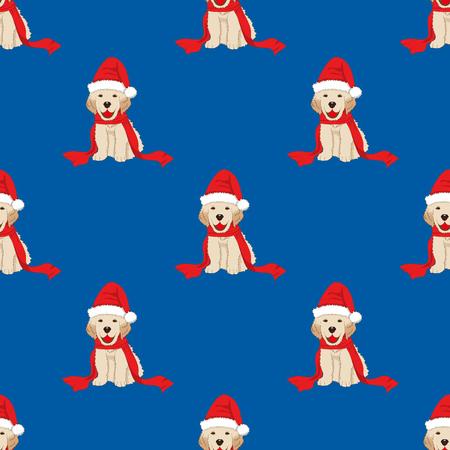 Labrador Retriever con Santa Hat senza cuciture su fondo blu. Illustrazione vettoriale
