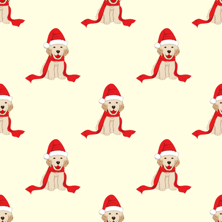 Labrador Retriever with Santa Hat Seamless on Ivory Beige Background. Vector Illustration.