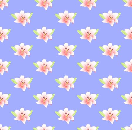 보라색 배경에 핑크 백합 꽃입니다. 벡터 일러스트 레이 션. 일러스트