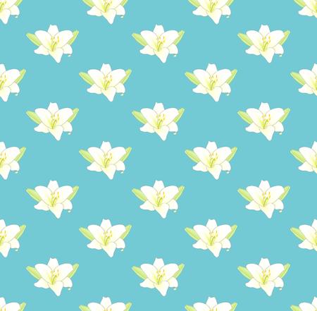 파스텔 파란색 배경에 흰색 백합 꽃입니다. 벡터 일러스트 레이 션.