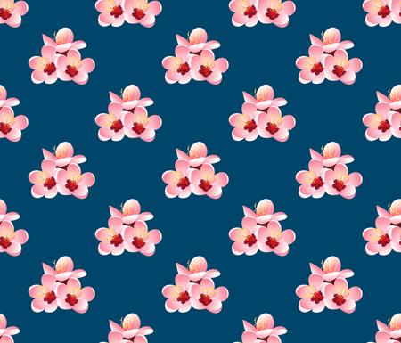Prunus persica - Peach Flower Blossom on Indigo Blue Background. Vector Illustration.