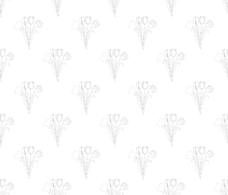 Tulip Seamless on White Background. Vector Illustration.