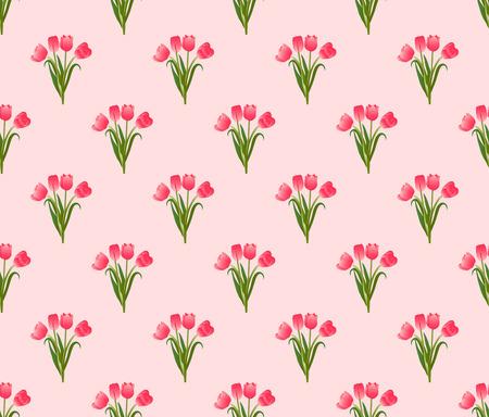 Pink Tulip Seamless on Pink Background. Vector Illustration. Illustration