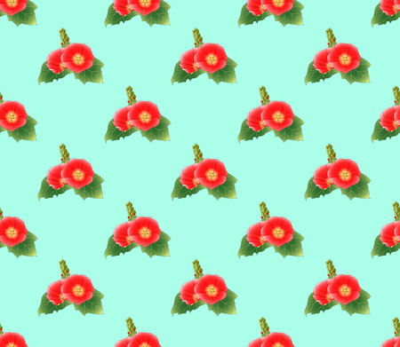 Red Hollyhock on Green Mint Background. Vector Illustration.