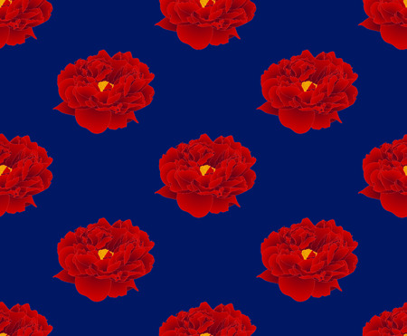 Red Peony on Navy Blue Background. Vector Illustration.