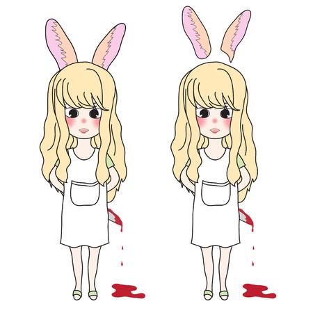血まみれのナイフを持ってウサギの耳長い巻き毛の女の子。ベクトルの図。白背景に分離されました。