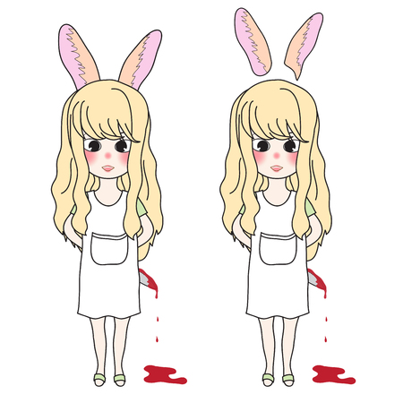 Curly Long Hair Girl with Rabbit Ears Holding Bloody Knife. Vector Illustration. isolated on White Background.