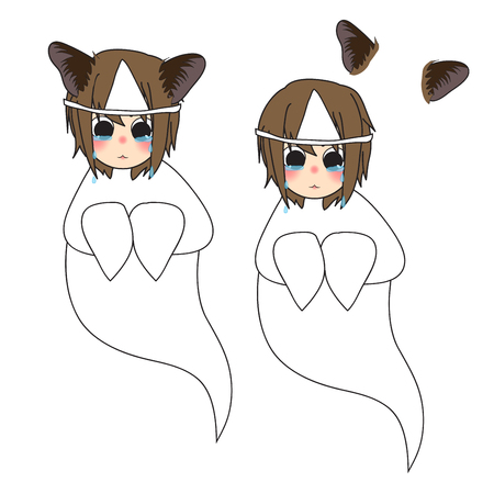 Cat Ears Girl Ghost Crying. Vector Illustration. isolated on White Background.