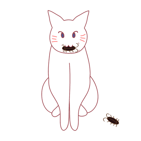 Cat Hunting Cockroach. Vector illustration. isolated on White Background.