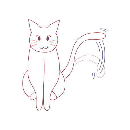 White Cute Cat Wagging its Tail.