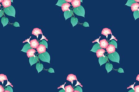 Pink Morning Glory Seamless on Indigo Blue Background. Vector Illustration.