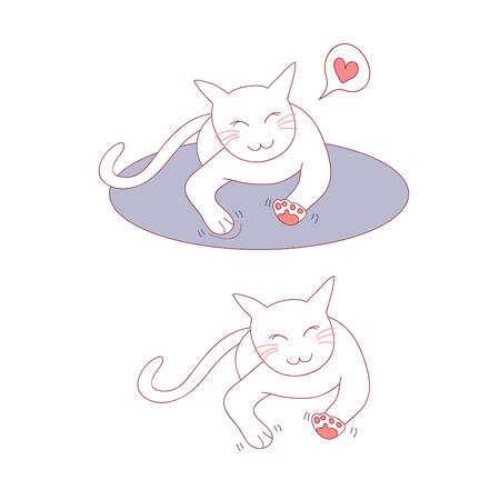 Nette Katzenmassage auf dem Bett. Vektor-Illustration. isoliert auf weißem Hintergrund.