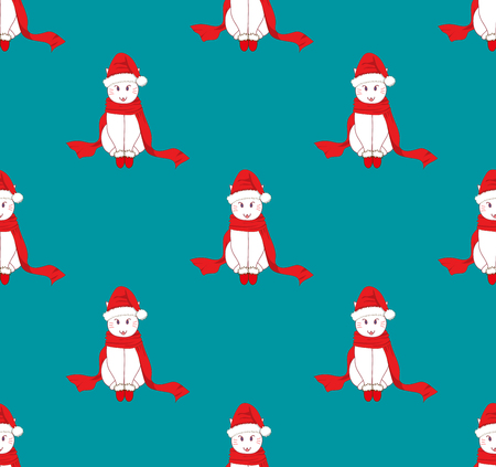 White Santa Cat with Red Scarf on Blue Background. Vector Illustration.  Illustration