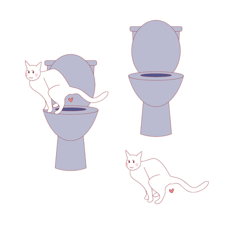 Cat poop at human toilet. Isolated on white background. Illustration