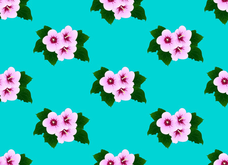 Pink Hibiscus syriacus - Rose of Sharon on Mint Background. Vector Illustration