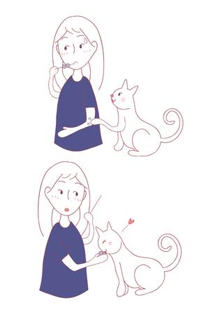 Girl and animal playing illustration..